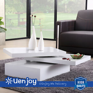 White Square Coffee Table Rotating Contemporary Modern Living Room ...