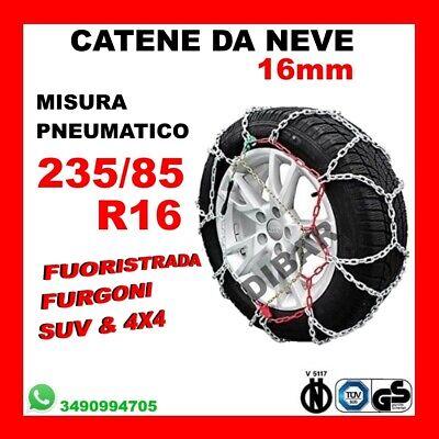 CATENE DA NEVE PER FUORISTRADA E 4X4 OMOLOGATE 12MM MISURA PNEUMATICO 235//85 R16