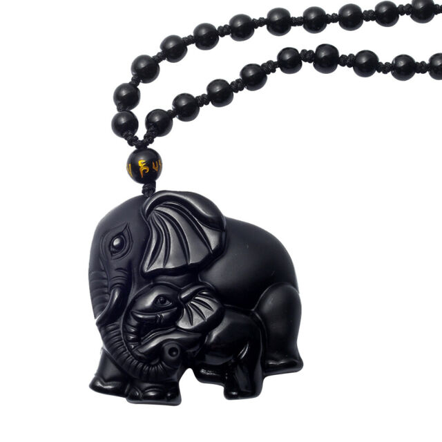 Natural Black Obsidian Hand Carved Cute Elephant Lucky Pendant Beads Necklace US