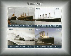 Chad 2018 MNH Titanic 4v M/S II Boats Ships Nautical Stamps