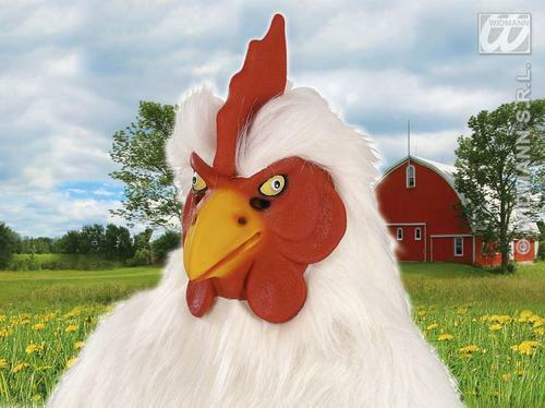 Rubber Chicken Mask Farm Animal Cockerel Chicken Run Fancy Dress