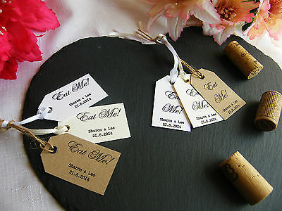 Personalised Wedding 'Eat Me' Favour Tags - Vintage
