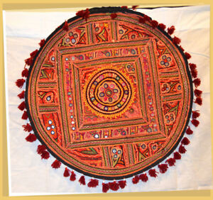 Antique-Hand-Embroidered-Mirror-work-Wall-Tapestry-Table-Cover-Wall-Art-India