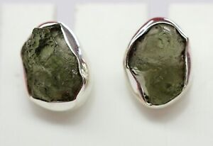 seltene-Moldavite-Ohrstecker-925-Silber-Rohstein-boemischer-Moldavit-selten