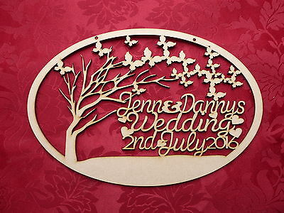 MDF Wooden Personalised Butterfly tree wedding plaque Craft wall door hanging...