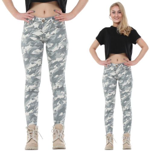 New Light Green Camouflage Slim Stretch Skinny Jeans Cropped Short Leg Trousers