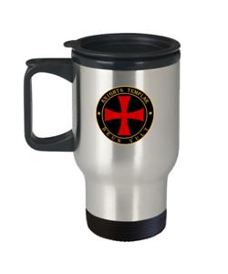 Deus Vult motto Templar Cross Symbol gift Details about  /Knights Templar Masonic travel mug
