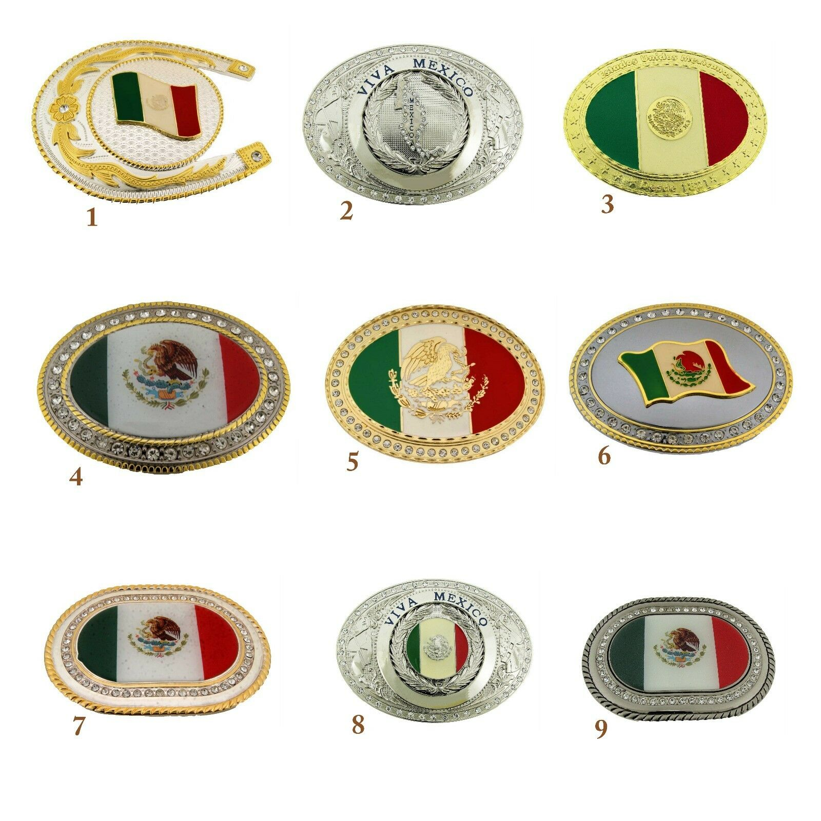 Mexico Latein America Flagge Gürtelschnalle Vintage Silber Gold Metall Western