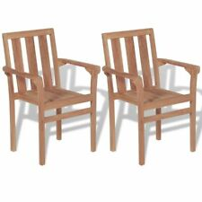 VidaXL Stackable Garden Chairs 2 Pcs Solid Teak Wood