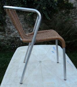 Détails sur Ancienne Chaise de Bistrot en Alu et Rotin,design,jardin,loft atelier vintage
