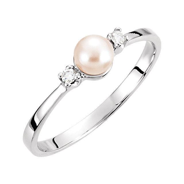 Akoya Cultured Pearl & Diamond Ring In 14K White gold