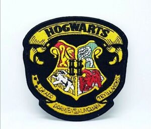 Harry Potter Hogwarts Yellow on Black Embroidered Iron Sew on Patch j1183
