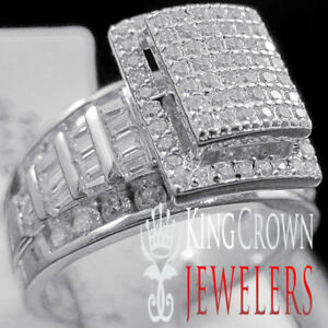 10K-White-Gold-Over-Silver-Ladies-Bridal-Ring-Wedding-Engagement-Diamond-Band
