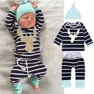 036f57cd4 3pcs Newborn Baby Boy outfits Hat+T shirt tops +Pants Kids boys ...