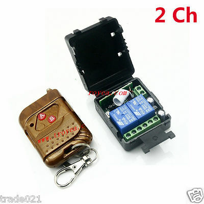 DC 12V 10A 2CH Relay wireless RF Remote Control Switch Transmitter+ Receiver car