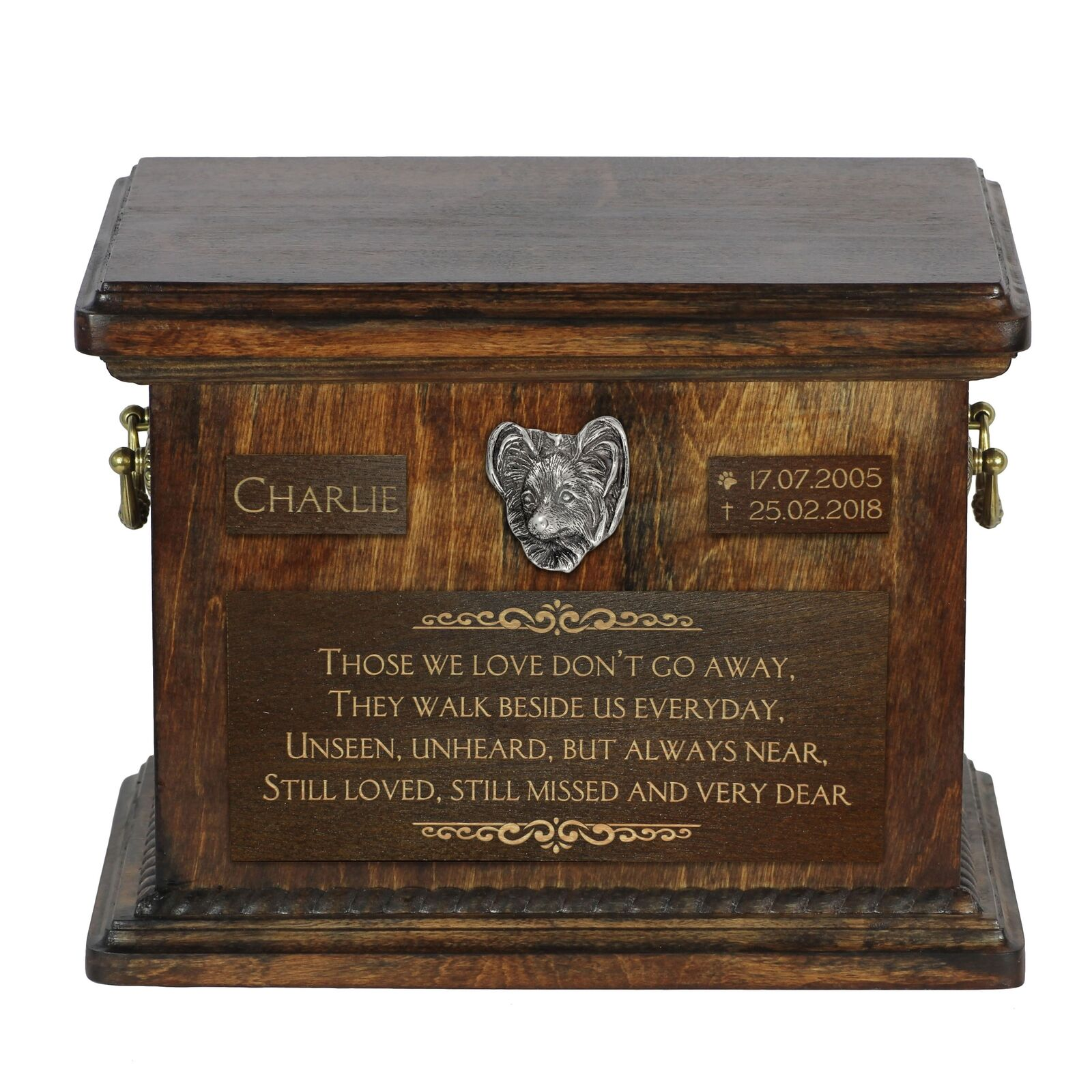Papillon  Urn for dog's ashes with image of a dog, Art Dog