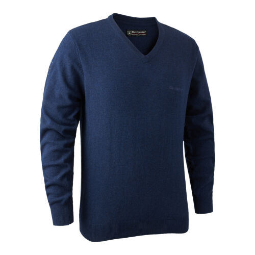Deerhunter Brighton Colore Con Scollo A V 756 Blu Melange Maglione Pullover