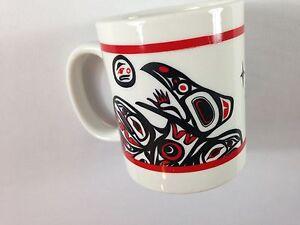 B-Hain-Coffee-Mug-VTG-90s-Cup-Aztec-Tribal-Tiki-Collectible-White-Red-Black-Art