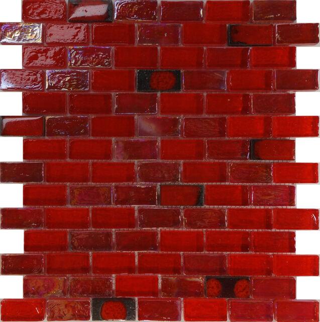 1sf Red Iridescent Glass Mosaic Tile Kitchen Backsplash Floor Shower Spa Sink For Sale Online Ebay