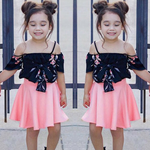 Toddler Kids Baby Girls Outfits Clothes Off-shoulder Tops+Dress Skirt 2PCS Sets