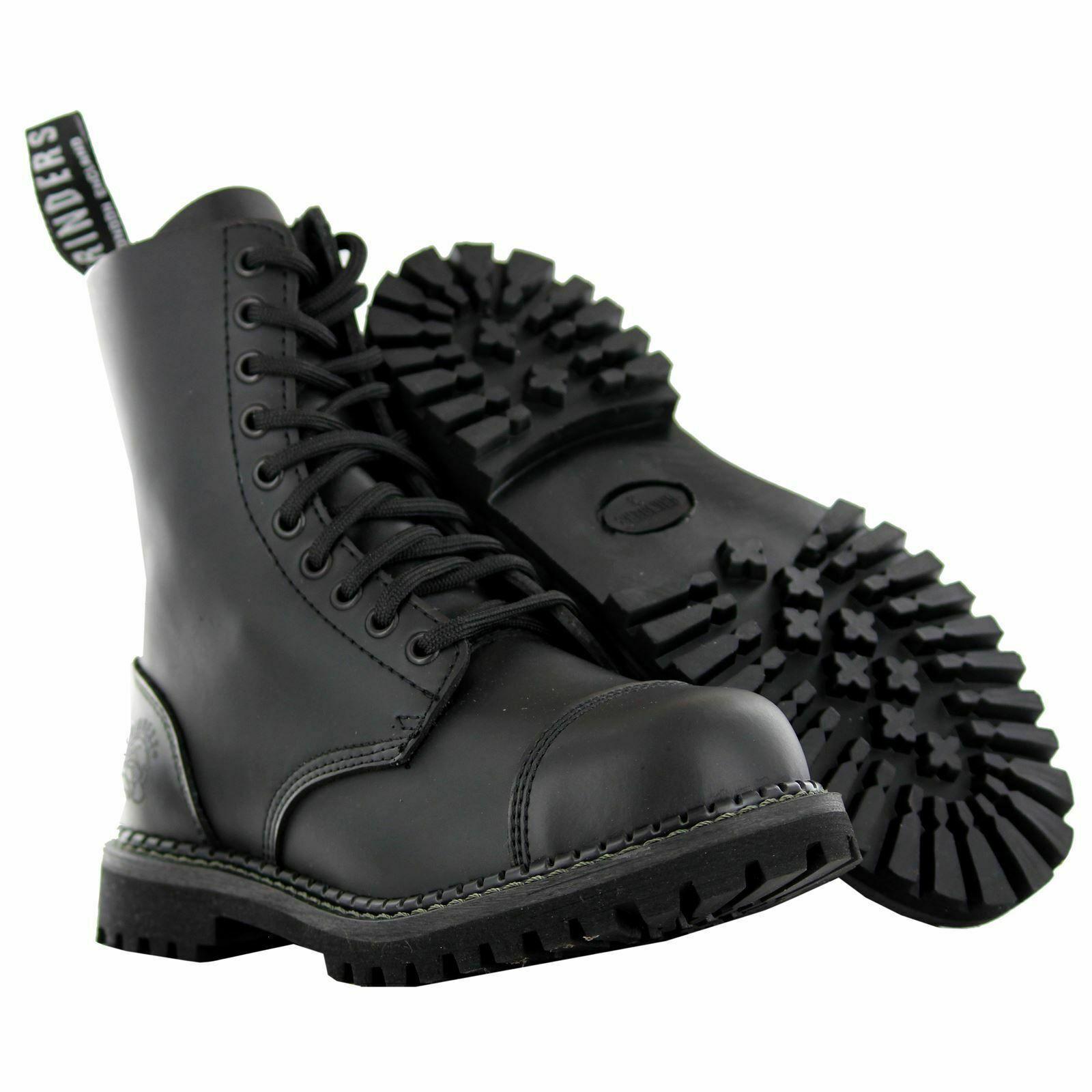 Grinders Stag CS DERBY Matt Finish Black Lace Up Leather Combat Uniform Boots