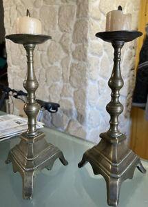 Paar Piques-Cierges Kerzenhalter Stative Louis XIV Bronze Haute Ära 17.