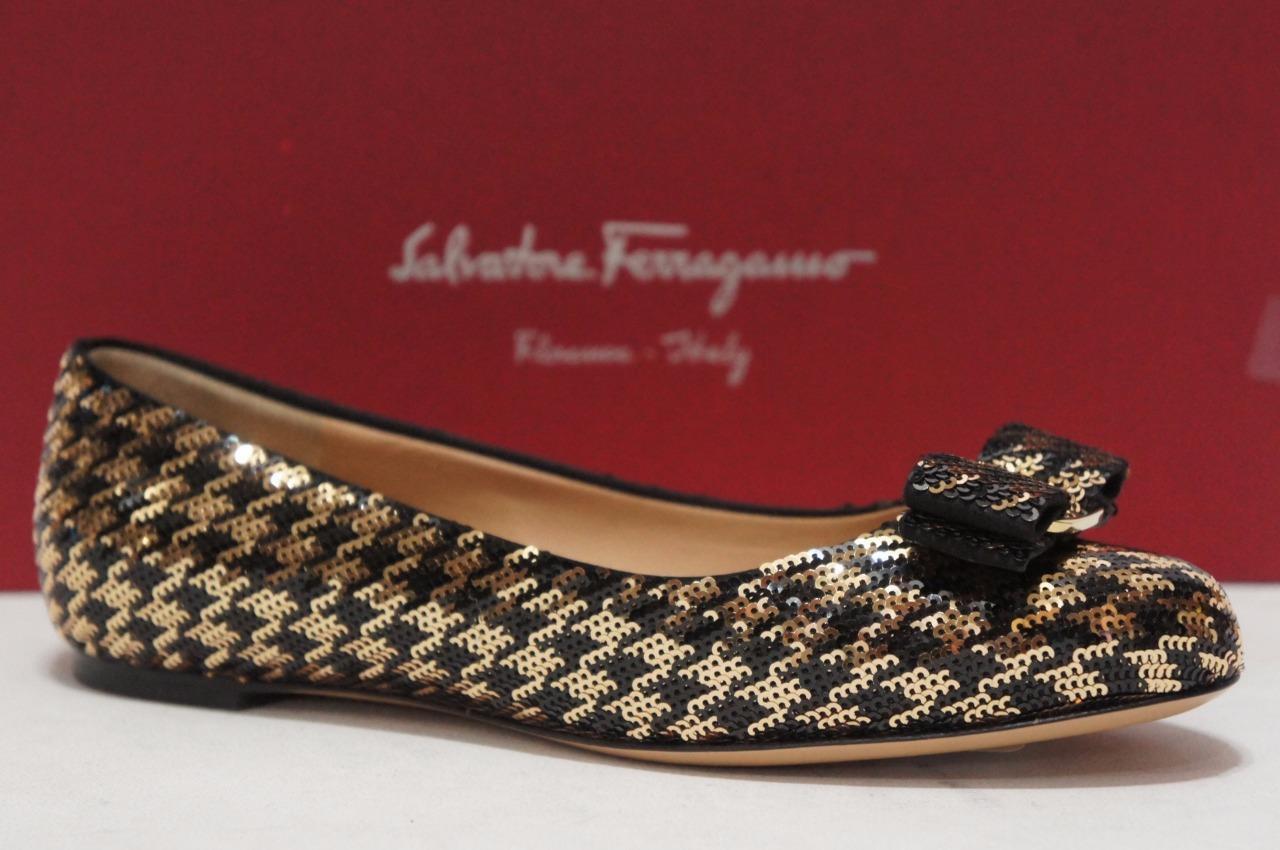 SALVATORE FERRAGAMO VARINA BLACK gold SEQUIN FLAT SHOES 6  795