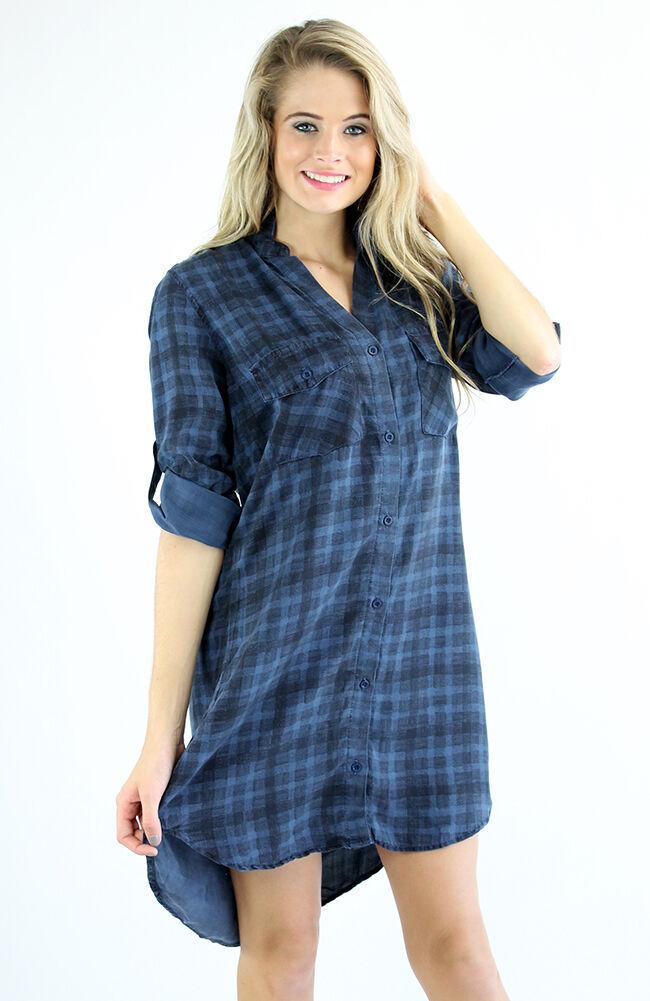 Neu Cloth & Stone Szm Patch-Tasche Hemd Kleid in Marine Blau Schleier