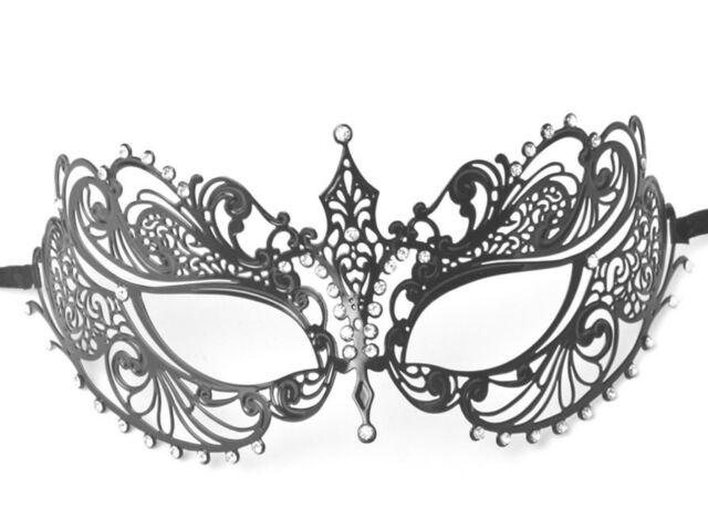 Black Filigree Metal Laser Cut Venetian Masquerade Costume Mask w/ Rhinestones