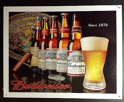 Budweiser History Of Bud 1876 TIN SIGN Beer Bottle Vtg Bar Metal Wall Decor