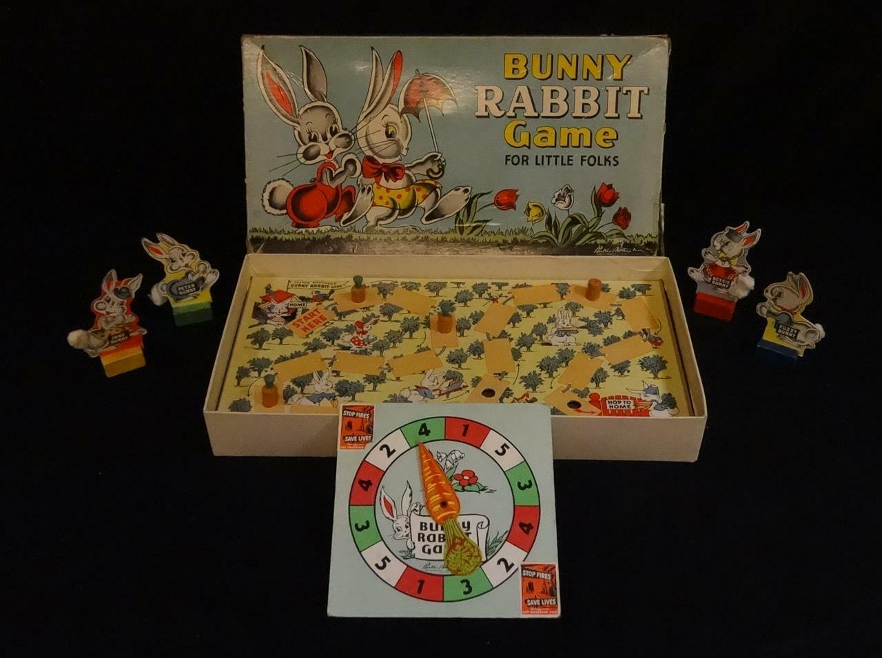 Vintage 1940s BUNNY RABBIT BOARD game by Parker Bredhers  Great game pieces