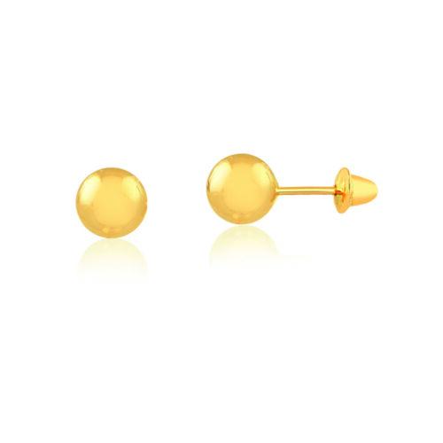 18k Solid Yellow Gold Ball 4 mm Push Backs Stud Earrings for Girls Infants