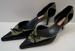 ALEXANDRA NEEL Black & Green Leather Pointed Toe Stiletto Court Shoes 38.5 UK5.5