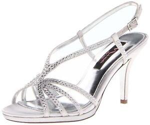 Nina-Women-039-s-Bobbie-JS-Dress-Sandal-Silver-Satin-6-5-B-M-US