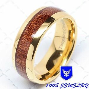 8MM-Mens-Tungsten-Ring-Wood-Inlay-14k-Gold-Plated-Wedding-Band-Bridal-Size-6-16