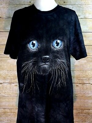 The Mountain Black Cat Blue Eyes Size L Color Charcoal Black T Shirt Ebay