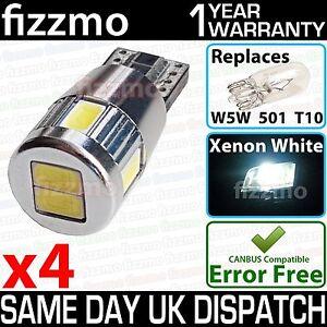 4x-BMW-E60-E61-pre-LCI-WHITE-ANGEL-EYE-RINGS-SMD-LED-CANBUS-501-W5W-T10-5-SERIES