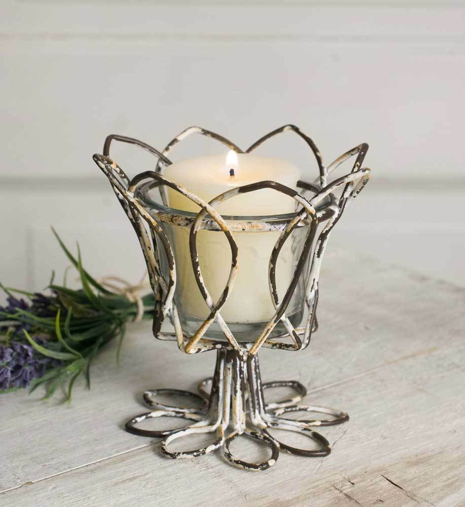 Set of 4 Distressed Tulip Votive Candle Holders w  Glass Metal Wire Primitive