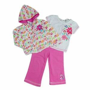 b489916f5 Girls Baby Toddler 3 piece set Pink Track Pants Coloured Hoodie ...