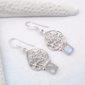 Mondstein-blau-weiss-eckig-Design-Ohrringe-Ohrhaenger-925-Sterling-Silber-neu