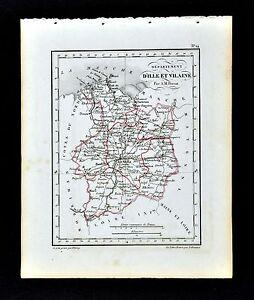 1841 Perrot France Map Departement D Ille Et Vilaine Rennes Redon