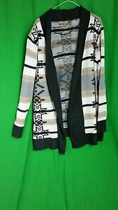 Belldini-Sweater-Open-Cardigan-Sz-1X-Multi-Color-Navajo-Print