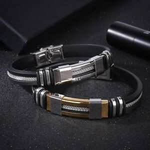 Men-Fashion-Jewelry-Stainless-Steel-Silicone-Vintage-Band-Bracelets-Bangle-New