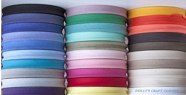 """BIAS BINDING 1"""" 25mm FULL 50 METRE ROLL EXCELLENT QUALITY- 25 COLOURS TO CHOOSE!"""