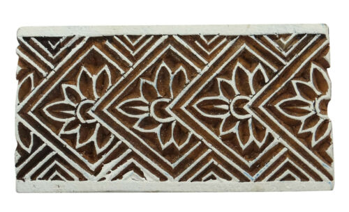 Wooden Block Hand Carved Floral Pattern Wood Blocks Textile Printing Stamps