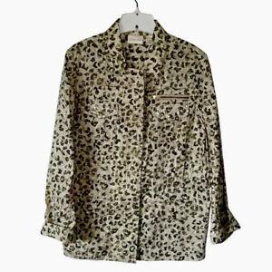 Chicos-Womens-Jacket-Coat-Ivory-Animal-Print-Zip-Up-Stretch-Snaps-Medium-NWOTs