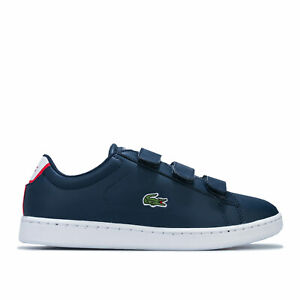 Junior-Boys-Lacoste-Carnaby-Evo-Bride-Baskets-En-Bleu-Marine-Rouge-Crochet-Et-Boucle