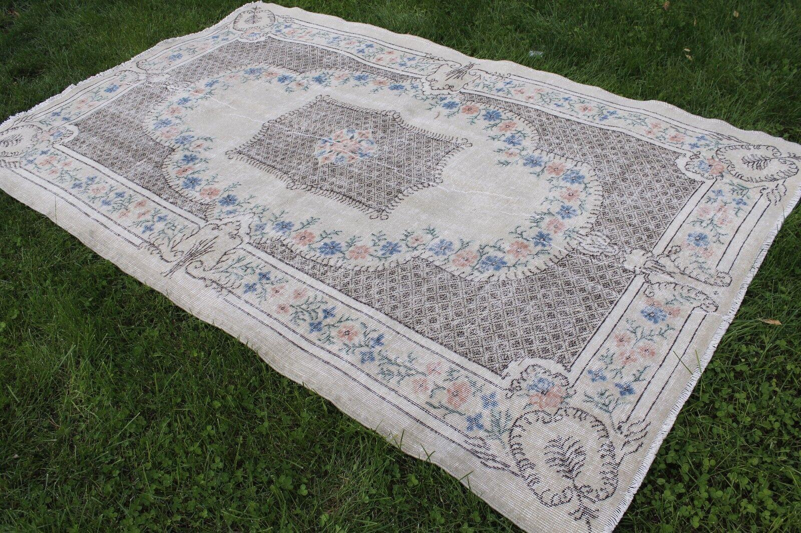 Vintage Handmade Turkish Oushak Wool Area Rug Carpet 101 x63
