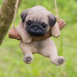 Hanging Brown Pug Puppy Dog Life Like Figurine Statue Home Garden New Ebay