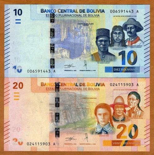 UNC Complete redesign 2018 P-New 10;20 Bolivianos SET Bolivia